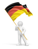 Man and German flag (clipping path included)