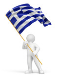 Man and Greek flag (clipping path included)
