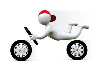 3D Man driving fast