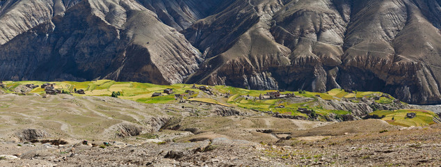Mountain landscape and Sangda village in Upper Dolpo, Nepal