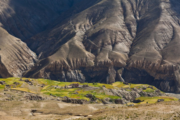 Mountain landscape and village in Upper Dolpo, Nepal