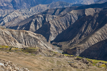 Mountain landscape and fields in Upper Dolpo, Nepal