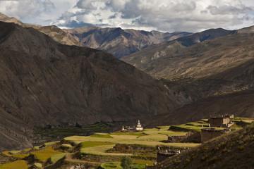 Village Sangda and chorten in Inner Dolpo, Eastern Nepal