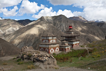 Ancient buddhist stupa and chortens in Dolpo, Nepal
