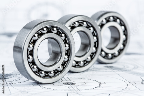Ball bearings on technical drawing - 56444871