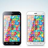 Illustration of Black and White Modern Smart Phone