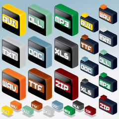 3D Isometric File Type Icons Set