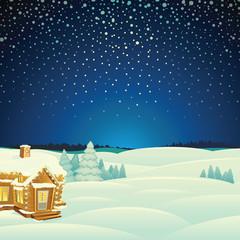 Winter Landscape. Cartoon Illustration