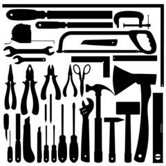Silhouettes of Work Tools, Instruments.