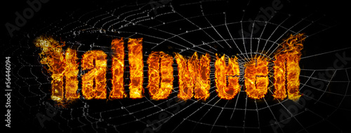 Halloween fire on spider web banner