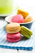 colorful macaroons on napkin