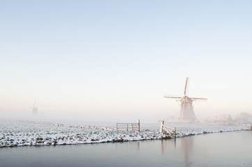 Winter windmill landscape in Holland
