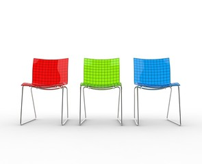 Row Of Colorful Modern Plastic Chairs