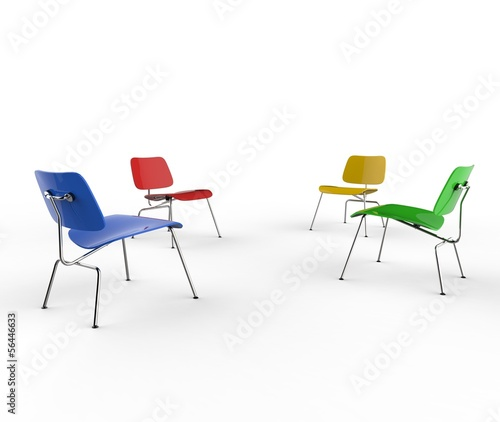 Colorful Chairs Perspective Shot