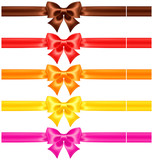 Silk bows in warm colors with ribbons
