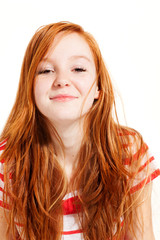 portrait of cute redheaded girl, white background