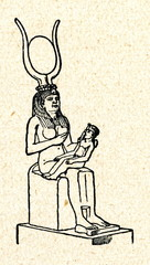 Isis (Hathor) and Horus