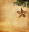 Golden star  hanging on a spruce on paper  background