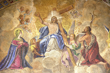 """Resurrection of Christos"", mosaic on the front of St. Mark's Ba"