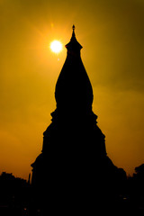 Silhouette of Phra That Phanom, Nakhon Phanom, Thailand