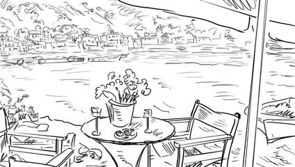 Summer terrace cafe - illustration, sketch