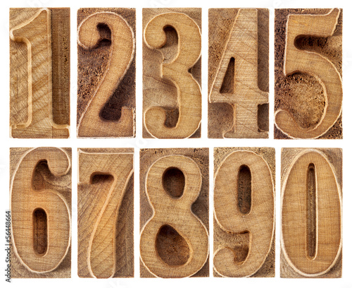 wood type numbers isolated