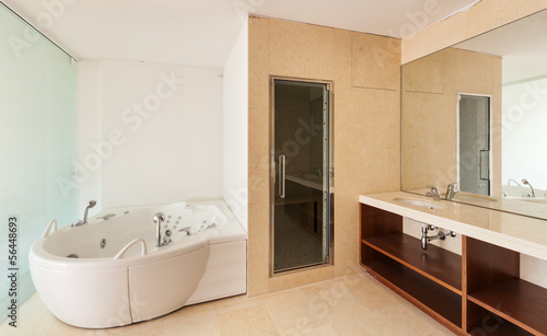 Interior apartment, view bathroom with big bath