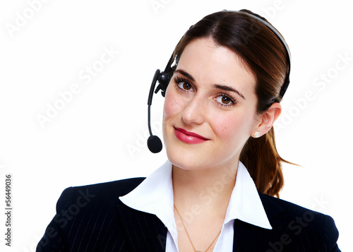 Business woman in headsets.