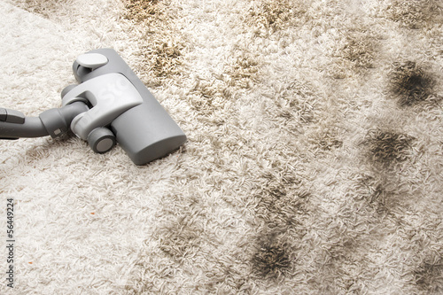 canvas print picture Vacuuming very dirty carpet