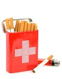 Cigarettes in a first aid tin with on a white background