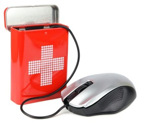Computer health concept with mouse and first aid box