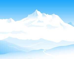 Beauty of Himalayas - vector illustration