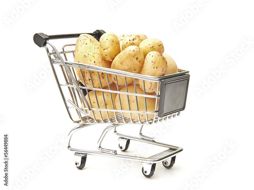 Shopping cart filled with potatoes