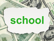 Education concept: School on Money background