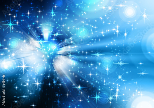 stars descending blue background