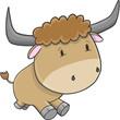 Cute Bull Cattle Vector Illustration Art