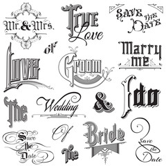 Calligraphic Wedding Elements - for design and scrapbook