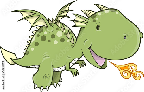 Cute Dragon Vector Illustration Art