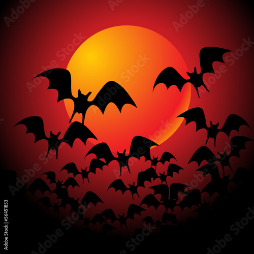 halloween background with full orange moon - vector illustration