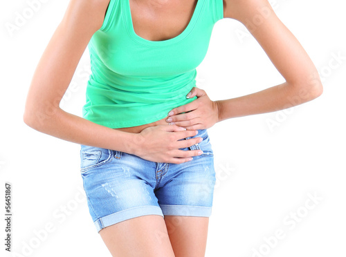 Abdominal pain on gray background