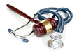 Medicine law concept. Gavel and stethoscope isolated on white
