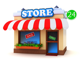 Store building isolated on white