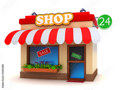 Shop building isolated on white