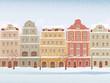 Winter town in snowfall