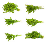 set of Arugula/rucola  fresh heap leaf on white