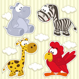 icon set animal  hippo, giraffe, zebra, parrot  - vector