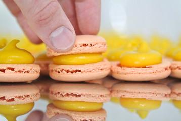 making mango and passionfruit macarons