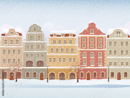 Winter town in snowfall