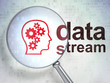 Information concept: Head With Gears and Data Stream with optica