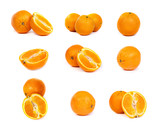 set of Fresh oranges and a half part of oranges